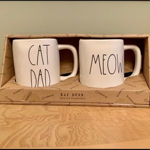 Rae Dunn CAT DAD/MEOW Mug Set